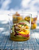 Gilthead seabream ceviche with apple and peach