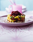A summer vegetable timbale