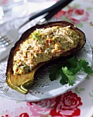 Stuffed aubergines with shrimps