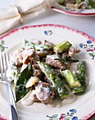 Blanquette d'agneau (lamb fricassee) with green asparagus