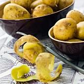 Potatoes and potato peelings
