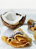 Chocolate and coconut pancake