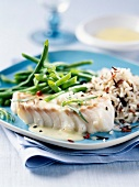 Cod fillet,wild rice and green beans