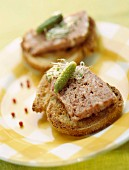 Chicken liver terrine on toast