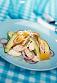 Free-range chicken colorful salad