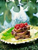 Sliced raspberry cake
