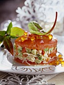 Crab,avocado and tomato timbale