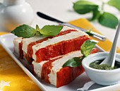 Red pepper and feta terrine with pistou