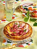 Nectarine and praline-flavoured tart