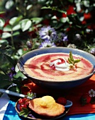 Melon and strawberry soup with sweet almond oil