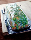 Pea,turnip and carrot terrine