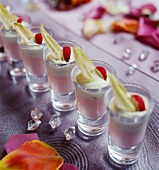 Verrines of radish mousse and chicory
