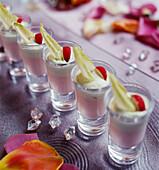 Verrines of radish mousse and chicory