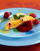 Peach pie with raspberry coulis