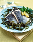 Bass fillet with seaweed
