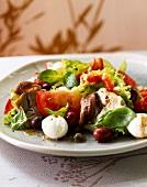 Tomato,mozzarella and anchovy salad