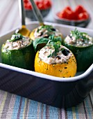 yellow and green courgettes stuffed with fromage frais and herbs