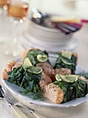 Salmon with beet leaves