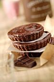 Pile of chocolate custard cakes