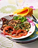 Plate of marinated and grilled summer vegetables