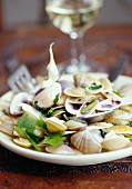 Sautéed clams with garlic and coriander