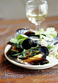 Mussels with coriander
