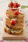 Eggplant caviar and goat's cheese toasted sandwich