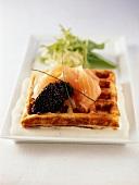 Waffle with caviar