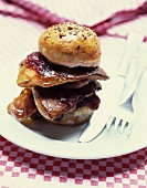 Pan-fried foie gras burger