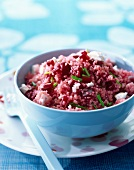 Pink couscous and beetroot salad