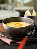 Orange lentil soup with lemon and saffron
