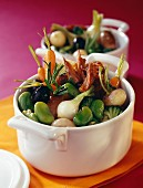 Spring vegetable and duck confit casserole