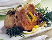 Saddle of lamb with stewed vegetables