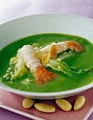 Cream of lettuce soup with langoustines