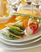 Foie gras and vegetable appetizers