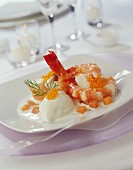 Gambas with diced smoked salmon and dill sorbet