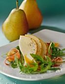 Pear carpaccio with rocket lettuce and Mimolette