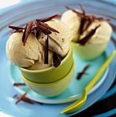 Bowl of chocolate and vanilla ice cream