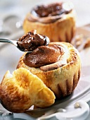 Crunchy Brioche filled with melted chocolate