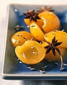 Creole-style apricots flambé