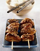 Chicken and sesame seed kebabs