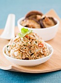 Fried rice with shiitake mushrooms