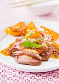 Magret de canard (smoked duck breast) with peaches