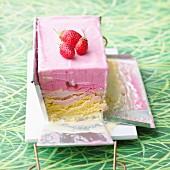 Strawberry and vanilla ice cream terrine