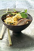 Noodles with duck and bamboo shoots