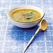 Garlic,oregano and saffron soup