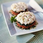 Scallop Tartare on a bed of tomatoes and basil