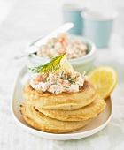 Thick blinis with fresh salmon Tartare