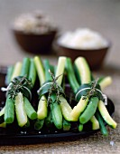 Zen bundles of green beans and courgettes