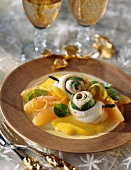 Rolled sole fillets with citrus fruit